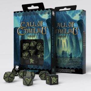 Q-Workshop   Q-Workshop Dice Call of Cthulhu Black & glow-in-the-dark Dice Set (7) - SCTH19 - 5907699492411