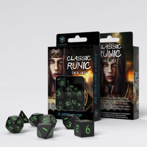 Q-Workshop   RPG / Polyhedral Classic Runic Black & green Dice Set (7) - SCLR21 - 5907699494262