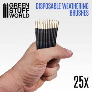 Green Stuff World   Green Stuff World Brushes 25x Disposable Weathering Brushes - 8436574507799ES - 8436574507799