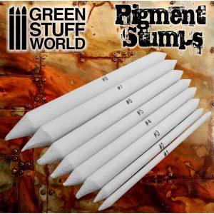 Green Stuff World   Weathering Brushes Set 8x Pigment Blending Stumps - 8436574500493ES - 8436574500493