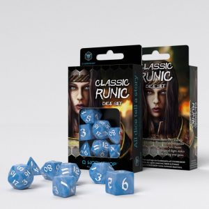 Q-Workshop   RPG / Polyhedral Classic Runic Glacier & white Dice Set (7) - SCLR1R - 5907699494200