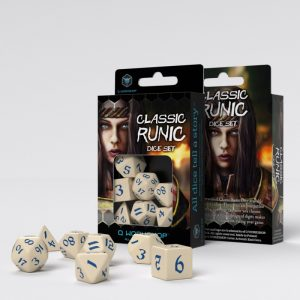 Q-Workshop   RPG / Polyhedral Classic Runic Beige & blue Dice Set (7) - SCLR1Z - 5907699494293