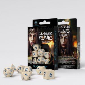 Q-Workshop   RPG / Polyhedral Classic Runic Beige & blue Dice Set (7) - SCLR1Z - 5907699494293