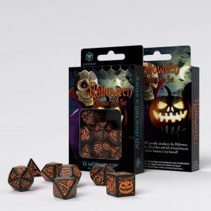 Q-Workshop   Halloween Halloween Pumpkin Black & Orange Dice Set (7) - SHAP69 - 5907699493951