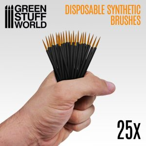 Green Stuff World   Green Stuff World Brushes 25x Disposable Synthetic Brushes - 8436574507782ES - 8436574507782