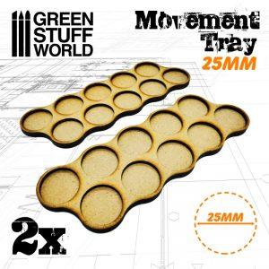 Green Stuff World   Movement Trays MDF Movement Trays 25mm x10 - Skirmish - 8436574502824ES - 8436574502824