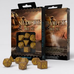 Q-Workshop   Q-Workshop Dice Steampunk Brown & yellow Dice Set (7) - SSTE32 - 5907699491131