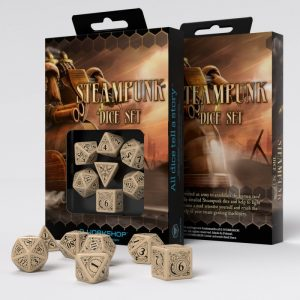 Q-Workshop   Q-Workshop Dice Steampunk Beige & black Dice Set (7) - SSTE18 - 5907699491124