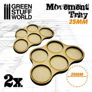 Green Stuff World   Movement Trays MDF Movement Trays 25mm x5 - Skirmish - 8436574502831ES - 8436574502831