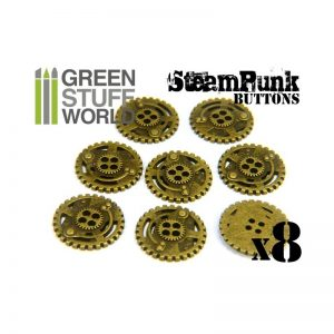 Green Stuff World   Costume & Cosplay 8x Steampunk Buttons SPROCKET GEARS - Antique Gold - 8436554366675ES - 8436554366675