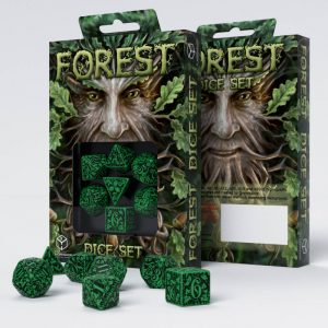 Q-Workshop   Q-Workshop Dice Forest 3D Green & black Dice Set (7) - SFOR15 - 5907699491513