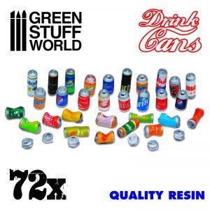 Green Stuff World   Green Stuff World Conversion Parts 72x Resin Drink Cans - 8436574507560ES - 8436574507560