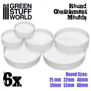 Green Stuff World   Mold Making 6x Containment Moulds for Bases - Round - 8436574504996ES - 8436574504996