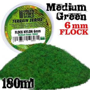 Green Stuff World   Sand & Flock Static Grass Flock 6 mm - Medium Green - 180 ml - 8436574508031ES - 8436574508031