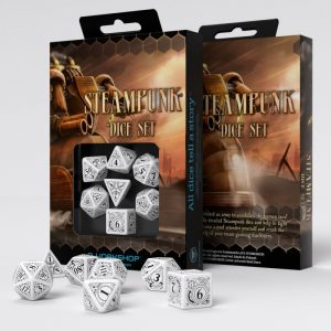 Q-Workshop   Q-Workshop Dice Steampunk White & black Dice Set (7) - SSTE02 - 5907699491155