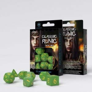 Q-Workshop   RPG / Polyhedral Classic Runic Green & yellow Dice Set (7) - SCLR2F - 5907699494163