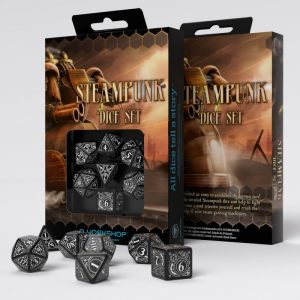 Q-Workshop   Q-Workshop Dice Steampunk Black & white Dice Set (7) - SSTE05 - 5907699491179