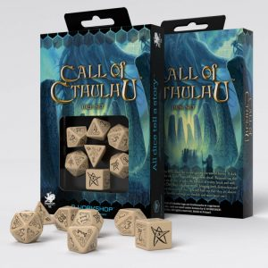 Q-Workshop   Q-Workshop Dice Call of Cthulhu Beige & black Dice Set (7) - SCTH18 - 5907699490059
