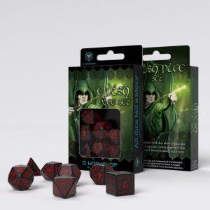 Q-Workshop   Q-Workshop Dice Elvish Black & red Dice Set (7) - SELV06 - 5907814951182