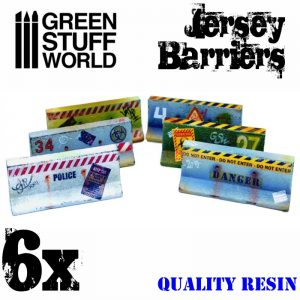 Green Stuff World   Green Stuff World Terrain 6x Jersey Barriers - 8436574504026ES - 8436574504026