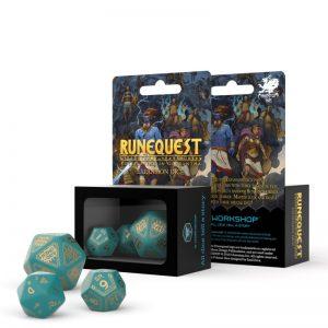 Q-Workshop   Q-Workshop Dice RuneQuest Turquoise & gold Expansion Dice (3) - SRQE97 - 5907699493906