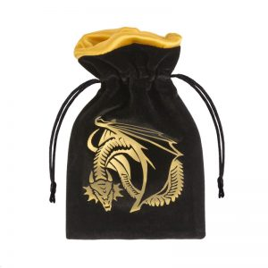 Q-Workshop   Dice Accessories Dragon Black & golden Velour Dice Bag - BDRA121 - 5907699493203