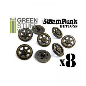 Green Stuff World   Costume & Cosplay 8x Steampunk Buttons FLYWHEEL GEARS - Bronze - 8436554366637ES - 8436554366637