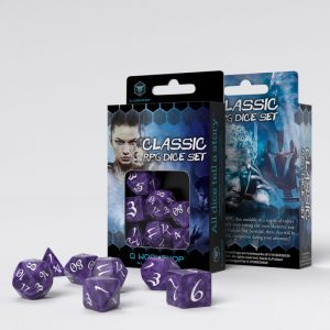 Q-Workshop   Q-Workshop Dice Classic RPG Lavender & white Dice Set (7) - SCLE1B - 5907699493852