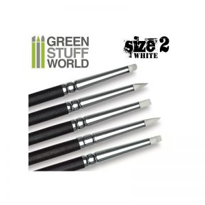Green Stuff World   Green Stuff World Tools Colour Shapers Brushes SIZE 2 - WHITE SOFT - 8436554360260ES - 8436554360260