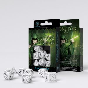 Q-Workshop   Q-Workshop Dice Elvish White & black Dice Set (7) - SELV02 - 5907814951168
