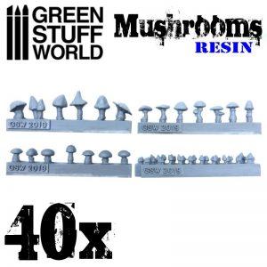 Green Stuff World   Green Stuff World Conversion Parts 40x Resin Mushrooms and Toadstools - 8436574504088ES - 8436574504088