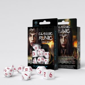 Q-Workshop   RPG / Polyhedral Classic Runic White & red Dice Set (7) - SCLR26 - 5907699494286