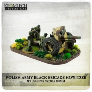 Kromlech   Kromlech Historical Polish Army Black Brigade wz. 1914/1919 Skoda 100mm howitzer with crew (cannon + 4) - KHWW2030 - 5902216119086