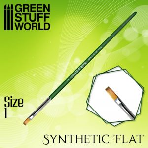 Green Stuff World   Green Stuff World Brushes GREEN SERIES Flat Synthetic Brush Size 1 - 8436574508178ES - 8436574508178