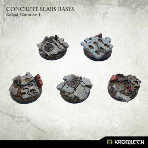 Kromlech   Concrete Slabs Bases Concrete Slabs Round 32mm Set 1 (5) - KRRB013 - 5902216116276