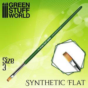 Green Stuff World   Green Stuff World Brushes GREEN SERIES Flat Synthetic Brush Size 3 - 8436574508161ES - 8436574508161
