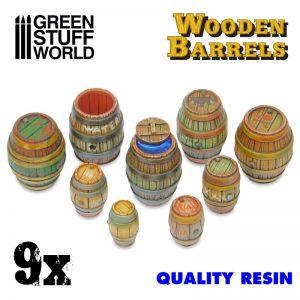 Green Stuff World   Green Stuff World Terrain 9x Resin Wooden Barrels - 8436574508932ES - 8436574508932