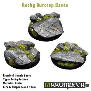 Kromlech   Rocky Outcrop Bases Kromlech Rocky Outcrop Round 50mm (3) - KRRB005 - 5060439481394