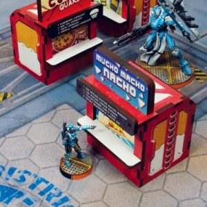 Micro Art Studio   Micro Art Studios Terrain District 5 Food Booths (3) PREPAINTED RED - H00103-red - 5907652561468