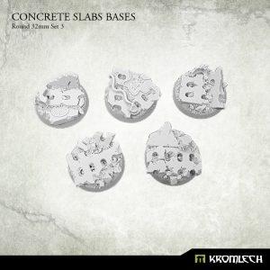 Kromlech   Concrete Slabs Bases Concrete Slabs Round 32mm Set 3 (5) - KRRB047 -