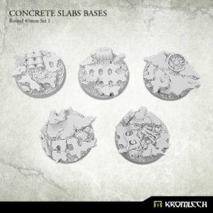 Kromlech   Concrete Slabs Bases Concrete Slabs Round 40mm Set 1 (5) - KRRB015 - 5902216116245