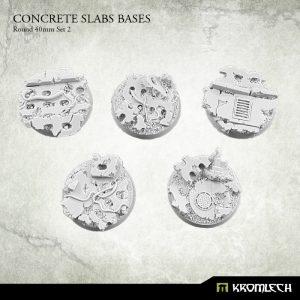 Kromlech   Concrete Slabs Bases Concrete Slabs Round 40mm Set 2 (5) - KRRB053 -