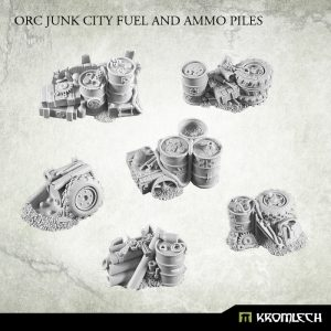 Kromlech   Basing Extras Orc Junk City Fuel and Ammo Piles (6) - KRBK013 - 5902216114913
