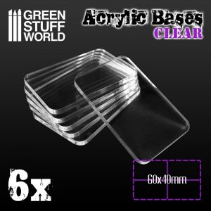 Green Stuff World   Acrylic Bases Acrylic Bases - Square 60x40mm CLEAR - 8436574503975ES - 8436574503975