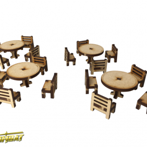 TTCombat   Fantasy Scenics (28-32mm) Tables and Chairs Set - RPG010 - 5060504047630