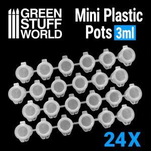 Green Stuff World   Paint Palettes 24x Mini Plastic Pots 3ml - 8436574508222ES - 8436574508222