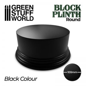 Green Stuff World   Display Plinths Round Block Plinth 10cm - Black - 8435646500638ES - 8435646500638