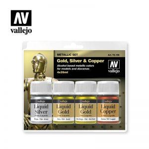 Vallejo   Liquid Gold AV Vallejo Model Color Set - Liquid Gold Set (x4) - VAL70199 - 8429551701990