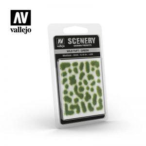 Vallejo   Vallejo Scenics AV Vallejo Scenery - Wild Tuft - Green, Medium: 4mm - VALSC406 - 8429551986045
