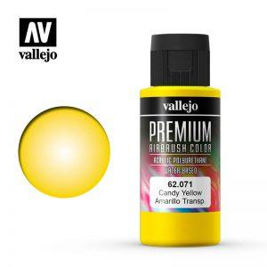 Vallejo   Premium Airbrush Colour AV Vallejo Premium Color - 60ml - Candy Yellow - VAL62071 - 8429551620710